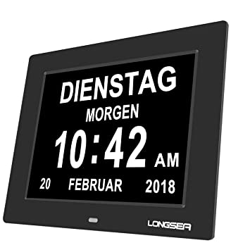 "Longsea Reloj Calendario Digital 8"" Multifunción Reloj Despertador Soporte de Tarjeta SD para Reproducir Fotos"
