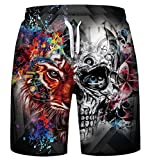 Gludear Men's Swim Trunks Best 3D Printed Summer Beach Surfing Board Shorts,Tiger Skull,L/XL
