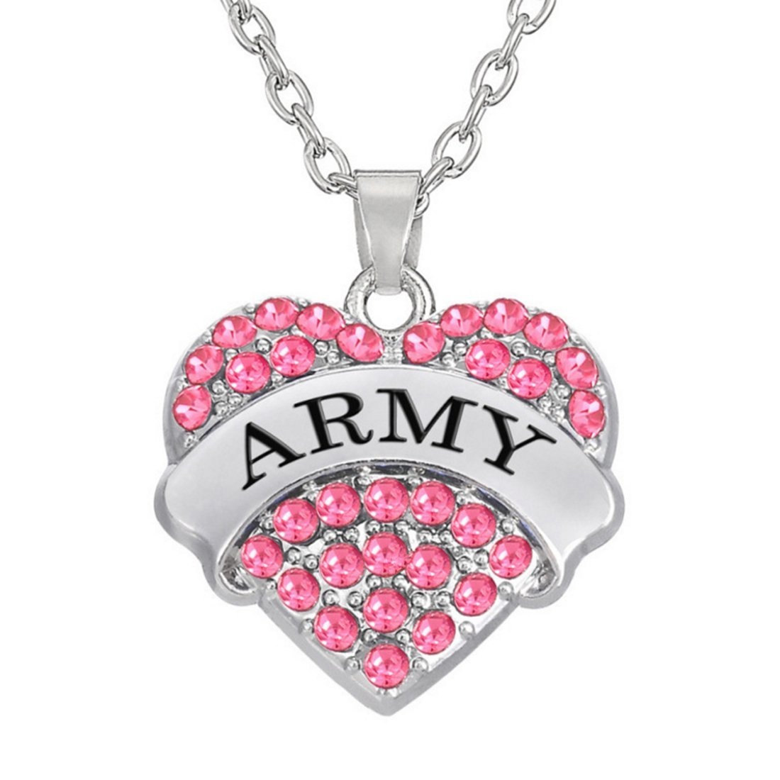 Army Necklace, Crystal Heart Jewelry, Pink Rhinestone Necklace ...