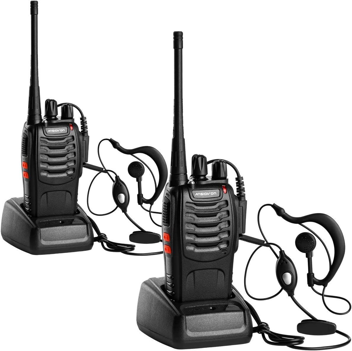 ANSIOVON Walkie Talkie-Rechargeable Long Range Two Way Radio-16 Channels-LED Flashlight -Earpiece-UHF 400-470Mhz-Professional Walky Talky-1500 Mah Rechargeable Li-ion Battery Include -2 Pack.