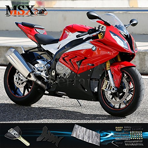 MSXmoto Fairing Kits Fit for BMW S1000RR 2015 2016 2017 S 1000RR Motorcycle Fairing Kit Plastic ABS plastic Injection Molding Kit Complete Motorcycle Fairing Bodywork Painted(Red)