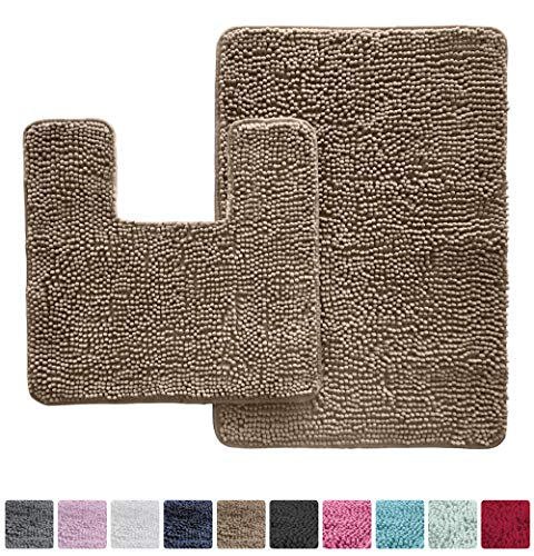 KANGAROO Original Shaggy Chenille Bathroom 2 Piece Rug Set Includes Mat Contoured for Toilet and 30x20 Carpet Mat, Machine Wash/Dry Mats, Absorbent, Plush Rugs for Kids Tub, Shower & Bath Room (Beige)