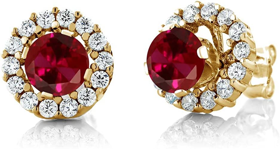 2 Ct Oval Red Ruby Cubic Zirconia Halo Earrings 14K White Gold Plated Jewelry