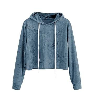 ❤ Sudaderas Mujer Cortas,Modaworld Sudadera con Capucha y Manga Larga para Mujer Jersey Tops Blusa de Terciopelo Camisas Chaqueta Outerwear Tumblr Crop ...