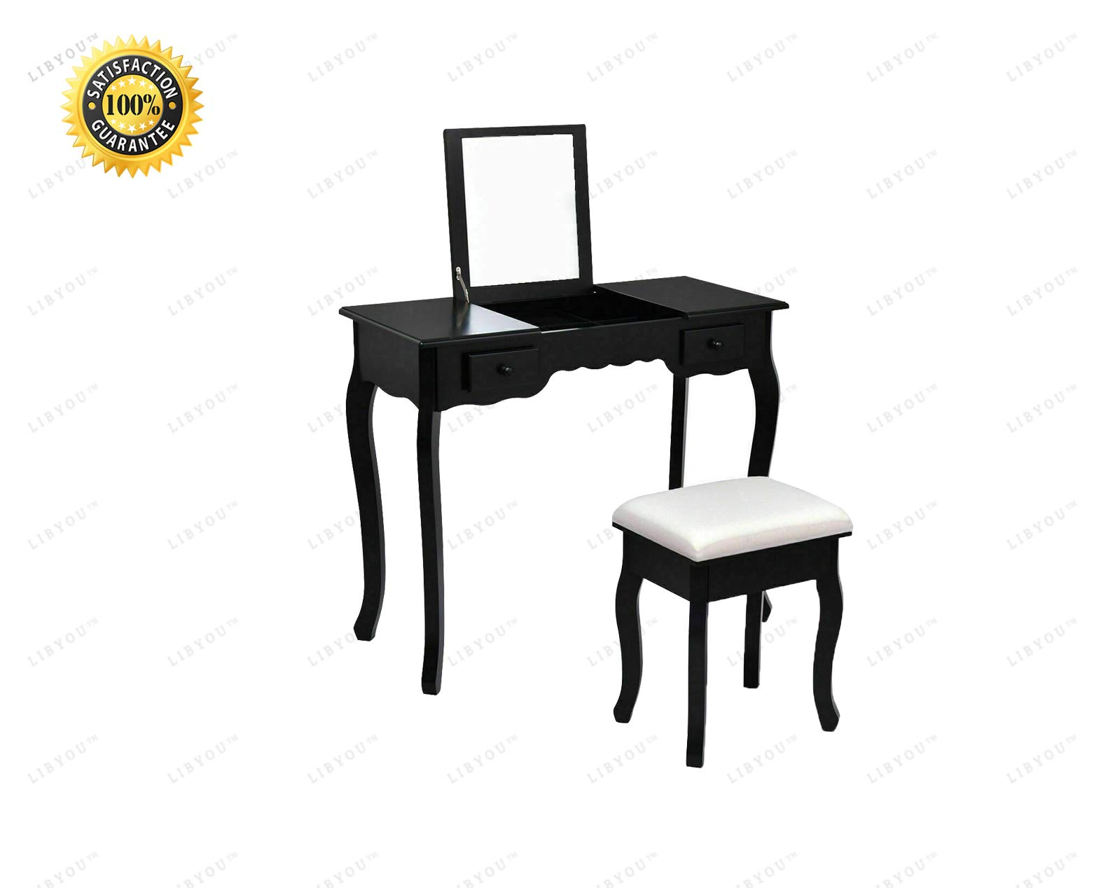 LIBYOU__Dressing Table Set,Vanity Dressing Table Set, Mirrored Bathroom Furniture,Stool Table Desk,Vanity Makeup Table Stool Set,Wood Makeup Table Stool Set,Wood Makeup Dressing Table
