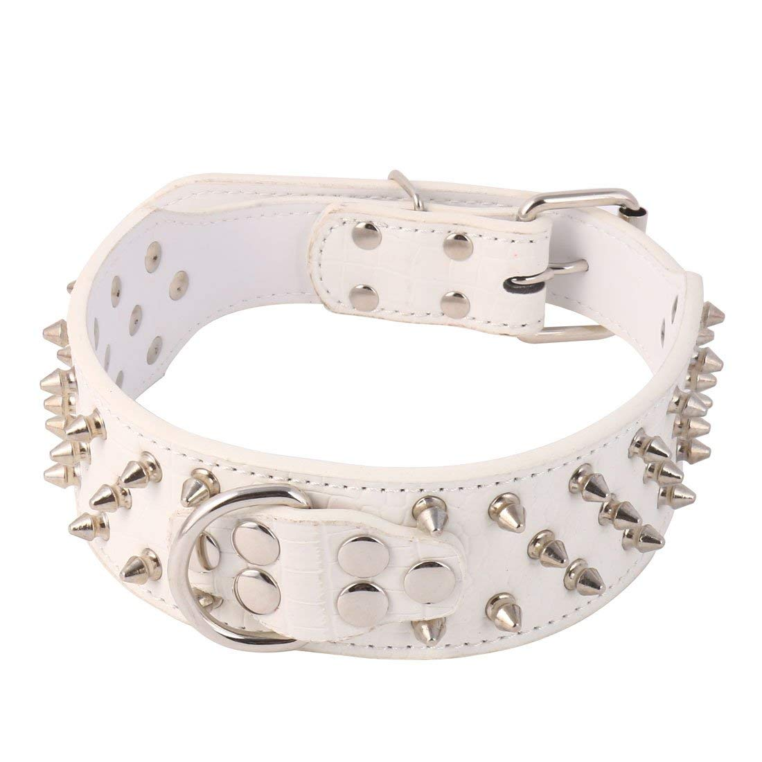 PU Leather Walking 3 Row Rivet Spike Studs Design Adjustable Pet Dog Neck Strap Collar