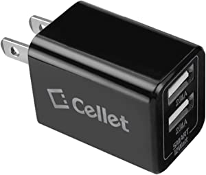 Cellet Universal 12W/2.4 Amp TabletSmart Dual USB Home Charger Compatible to Amazon Kindle, Amazon Fire Tablets, eReaders and Echo Dot, Paperwhite, Oasis (Micro USB Cable Included)