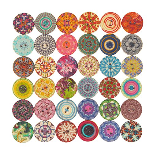 Mahaohao Mixed Random Flower Painting Round 2 Holes Decorative Wood Wooden Buttons for Sewing Crafting 25mm 1 Inch Pack of 100