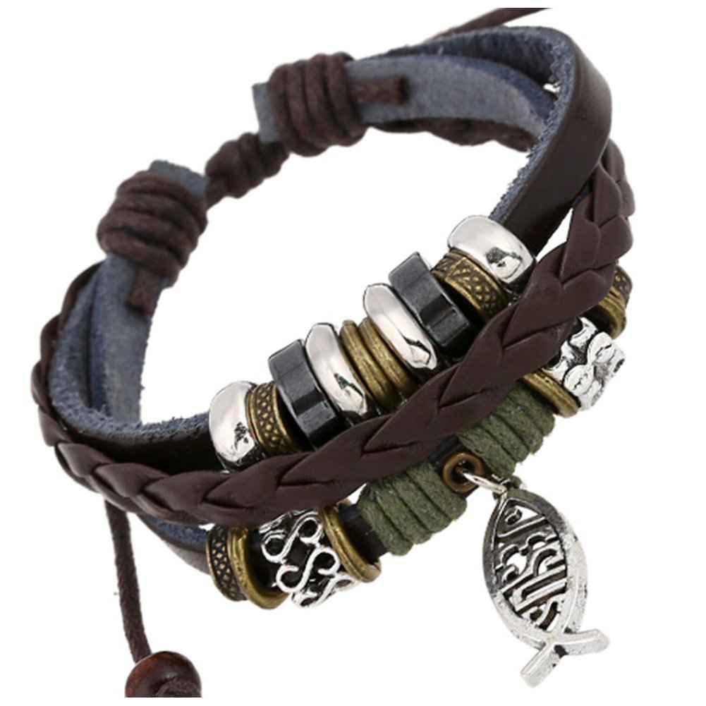 TEMEGO Jewelry Mens Womens Alloy Genuine Leather Braided Surfer Wrap Bracelet, Vintage Beads Pangolin Charm Cuff Bracelet, Adjustable Fits 7-12 Inch, Black Brown Golden Silver