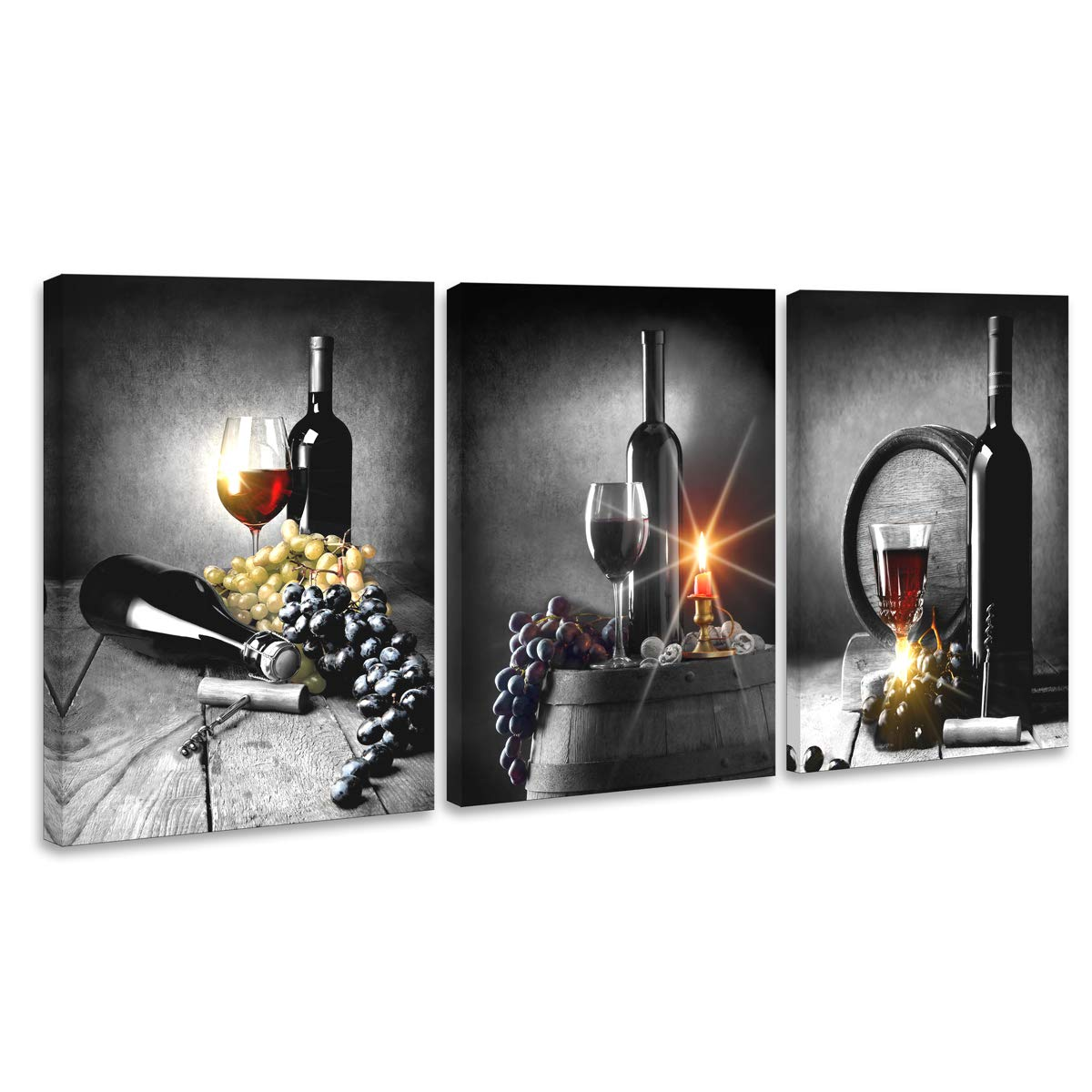Wall Art Wine With Grape Wall Art For Kitchen Painting Pictures Print On Canvas For Home Modern Decoration Canvas Art Home Wall Decor
