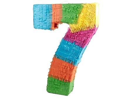 Alsino Piñata Multicolor | Forma de número 7 | para la Fiesta de Cumpleaños | Entretenimiento Niños, Piñata número 7