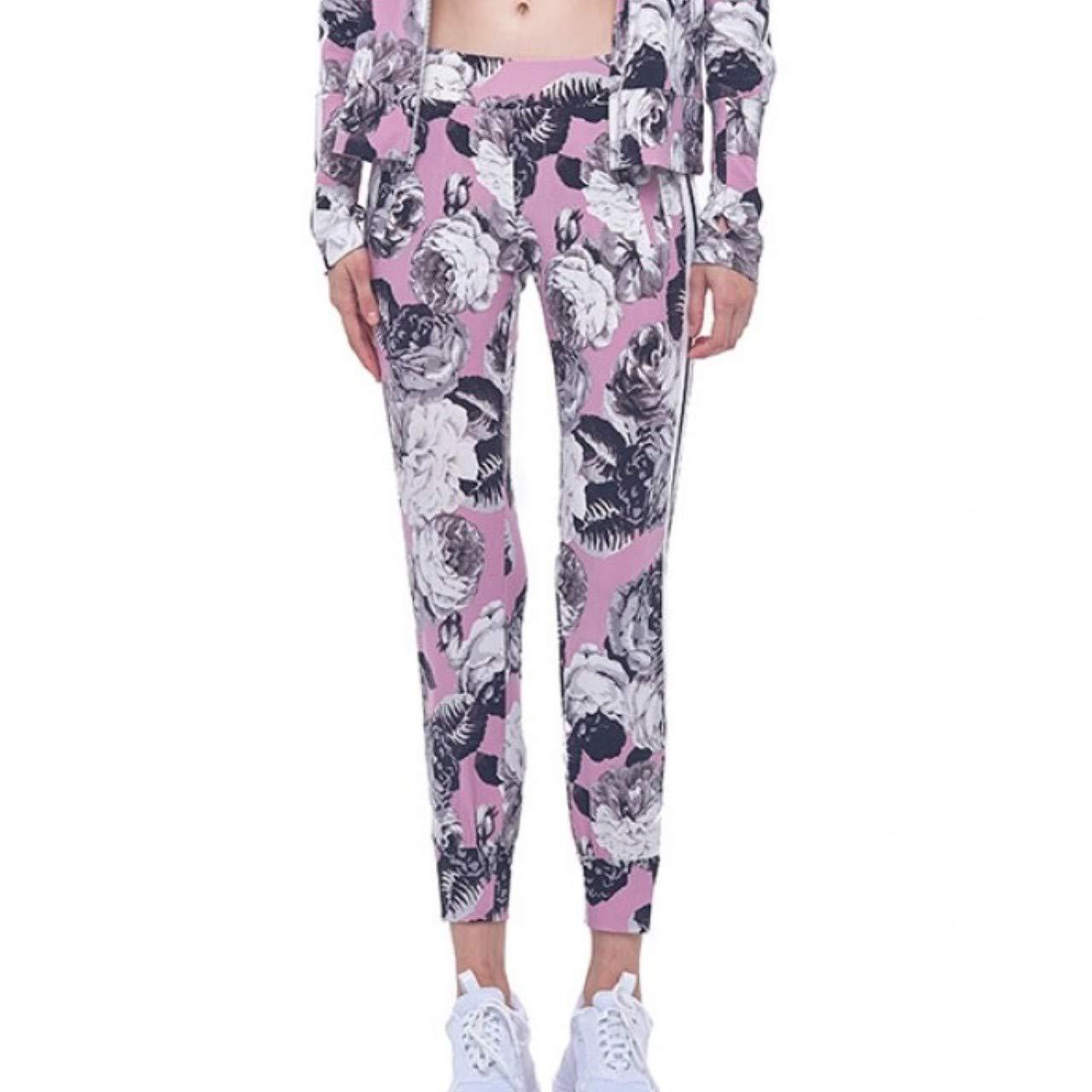 Pink Peonies Engineered Stripe L Norma Kamali Women's Track Pants