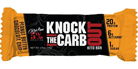 Rich Piana 5 Nutrition KTCO Keto Bar Peanut Butter Chocolate Chip Flavor 10 Count , 20g Protein 68g Serving Size