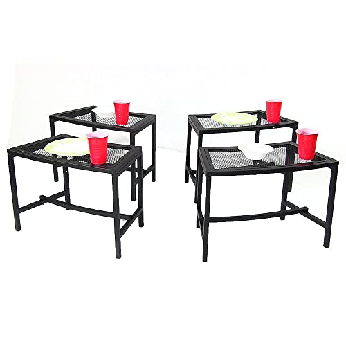 Sunnydaze Black Metal Mesh Patio Side Table – Lightweight and Portable Outdoor Furniture – Heavy Duty Modern Camp Fire or Fire Pit End Table – 23-Inch – Set of 4 Tables