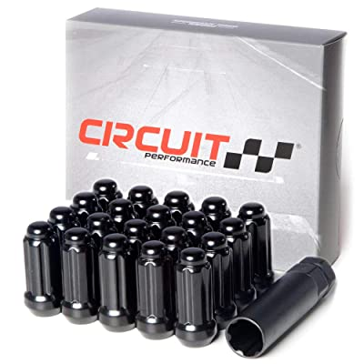 Circuit Performance 14x2.0 Black Closed End 6 Spline Security Acorn Lug Nuts Cone Seat Forged Steel (24 Pieces + Tool): Automotive