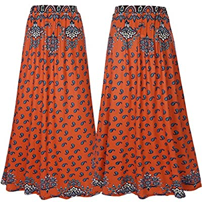 Zyyfly Women's Floral Printed Maxi High Waist Summer Beachwear Long Boho Skirt