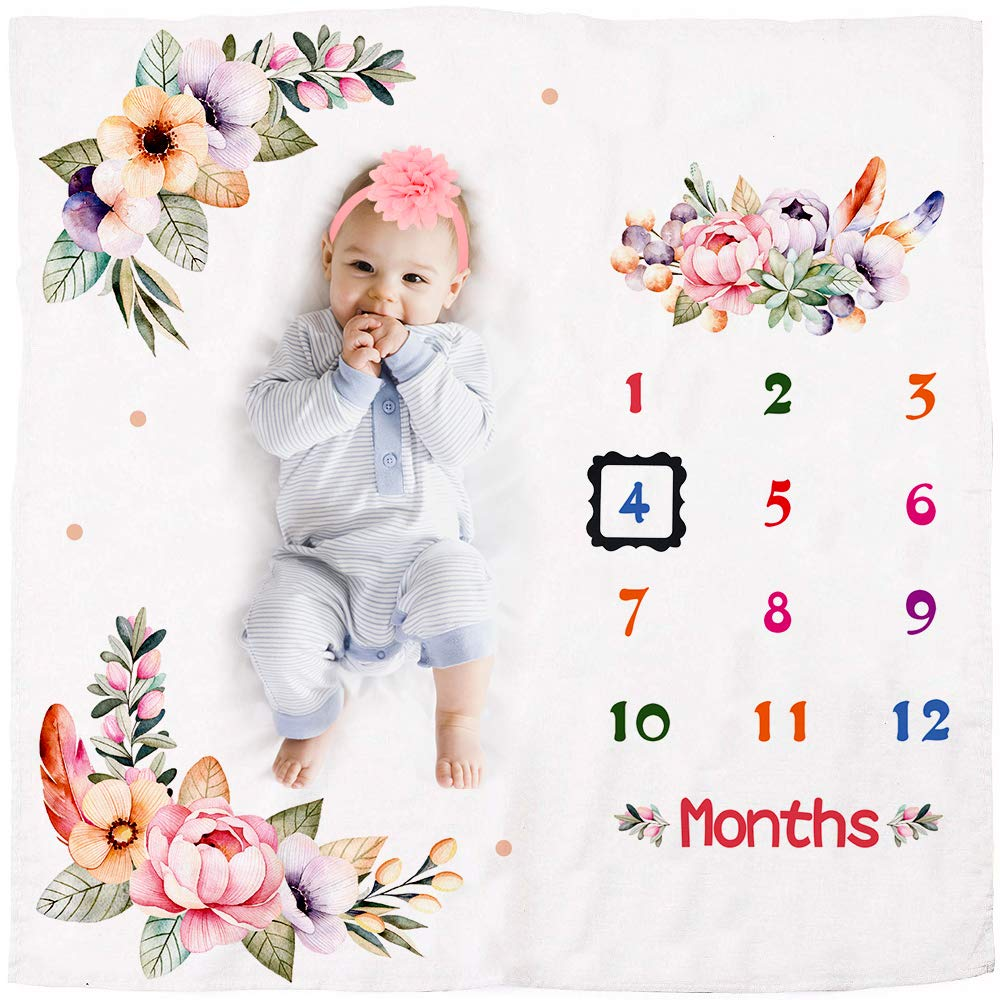 "Newborn Baby Milestone Blanket 47/""x47/""Growth Blanket Newborn Photo Prop For Girl"