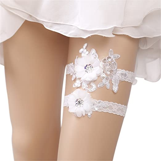 d4bbaf70bb5 Image Unavailable. Image not available for. Color  Flower Lace Wedding  Garter Belt Set Vintage Beaded for Bridal ...