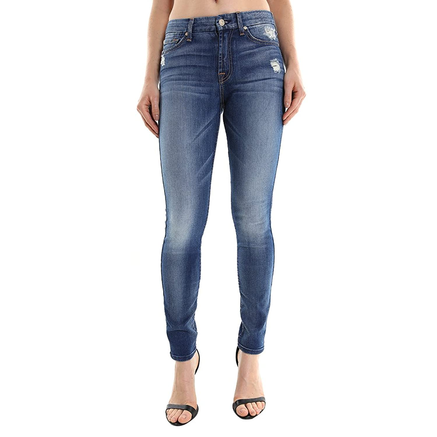7 For All Mankind Women's High Waist Skinny w/ Squiggle Jean AU035344A SZ 24