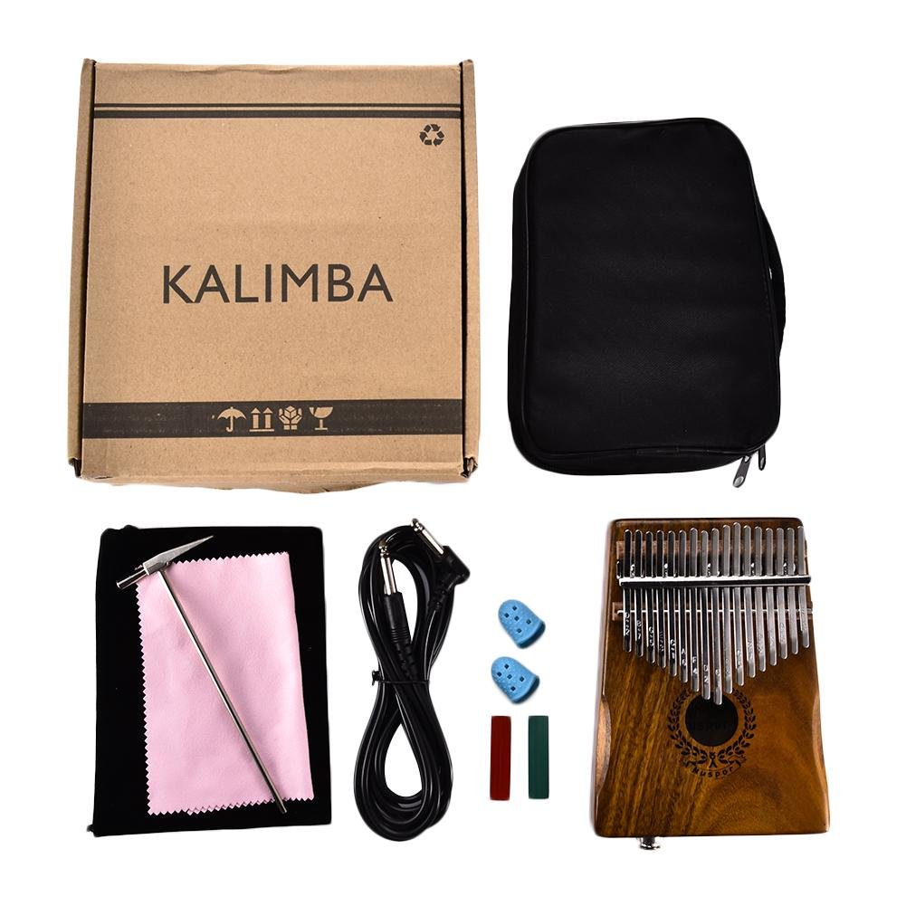 Samber Kalimba 17 Keys Thumb Piano Solid Finger Piano 17 Key EQ Kalimba Solid Acacia Thumb Piano Link Speaker Electric Pickup with Bag Cable with Tuning and Note Layout