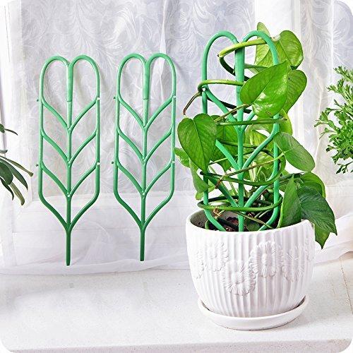 Garden Trellis For Mini Climbing Plant Pot Support Leaf Trellis 4quot W x 117quot H 12 Pack Green
