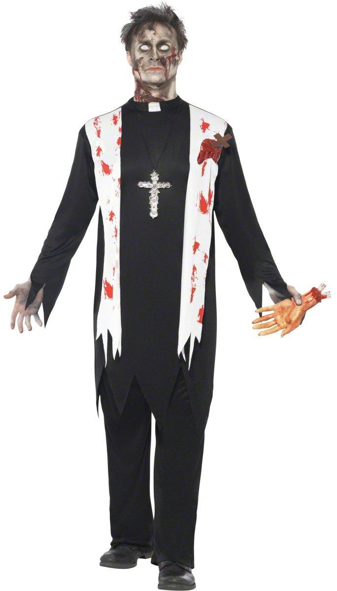 KULTFAKTOR GmbH Horror Horror Horror Zombie Priester Pfarrer Halloween Kostüm schwarz-Weiss-rot L 44029d
