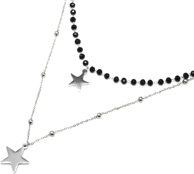 Oh My Shop CC2565E – Collar Doble Cadena Perlas Negras con Colgantes de Estrellas, Acero Plateado