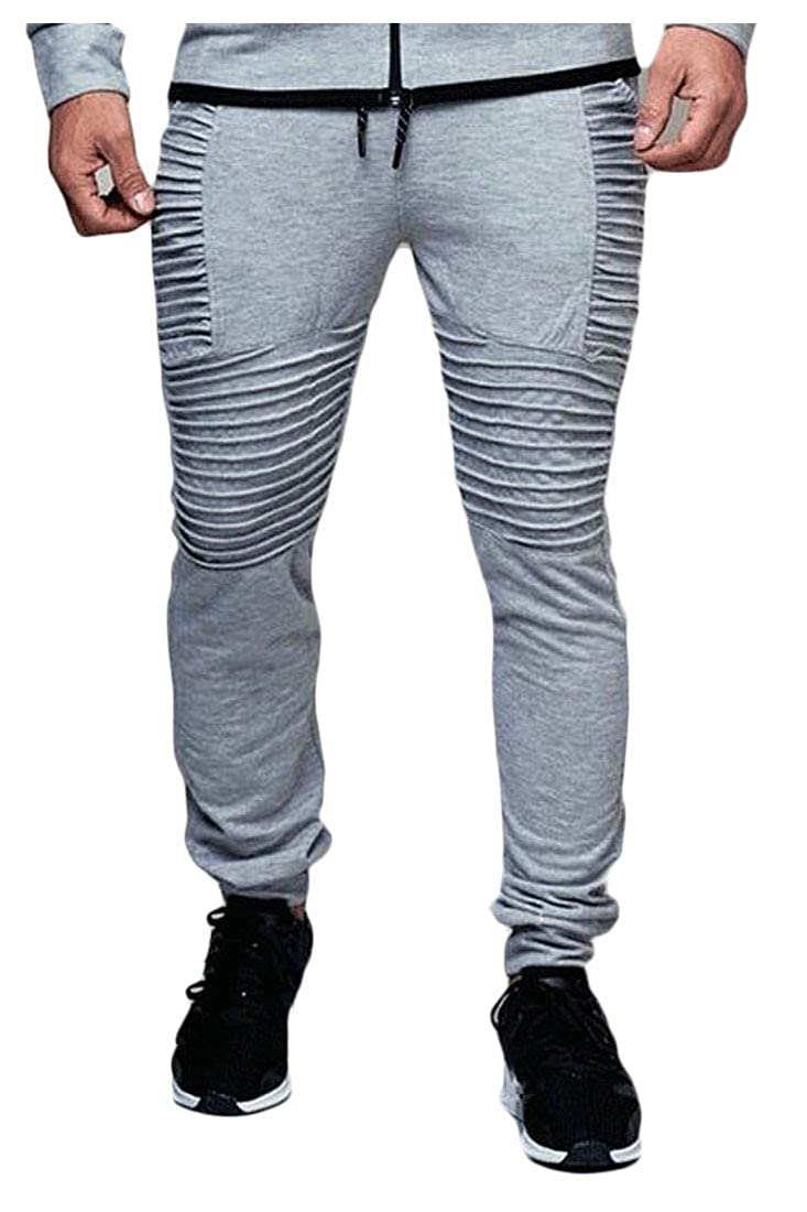 XTX Men Jogging Ruched Casual Outdoor Fitness Hip Hop Stripe Pants
