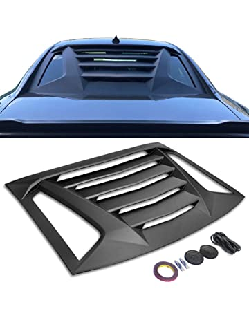 Window Louver Fits 2011-2018 Dodge Charger | Ikon V2 Style Unpainted Black ABS Rear