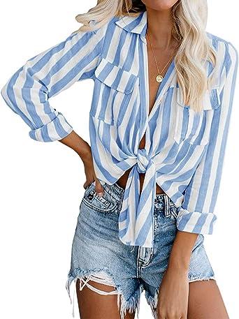 Minetom Blusas Mujer Camisetas De Manga Larga Otoño Camisas Rayas Moda 2019 Casuales Botones Cuello En V Ropa Tops: Amazon.es: Ropa y accesorios