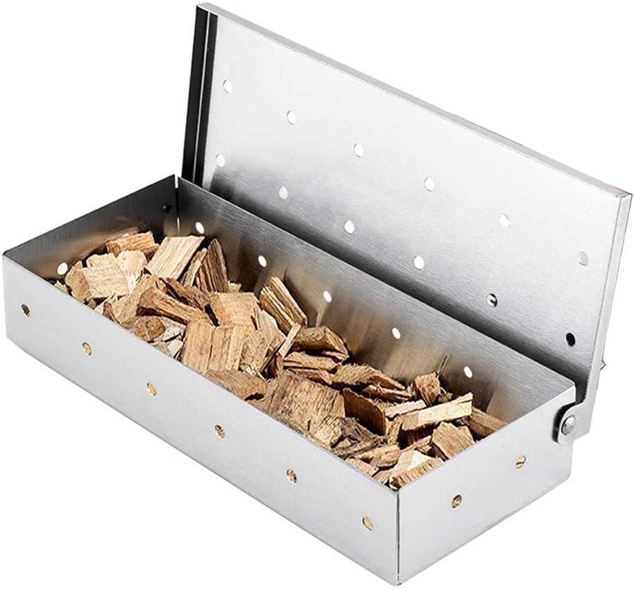 JPYH Caja de humo para barbacoa de acero inoxidable fácil de limpiar para ahumar fichas y ahumadores de madera, accesorios de barbacoa usadas para el sabor ahumado poroso del diseño del carbón de leña