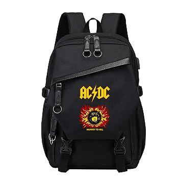 Unisex ACDC Mochila de Lona Portátil Mochilas Escolares Juveniles Mochila para Portátiles Ordenador Mochila Casual: Amazon.es: Equipaje