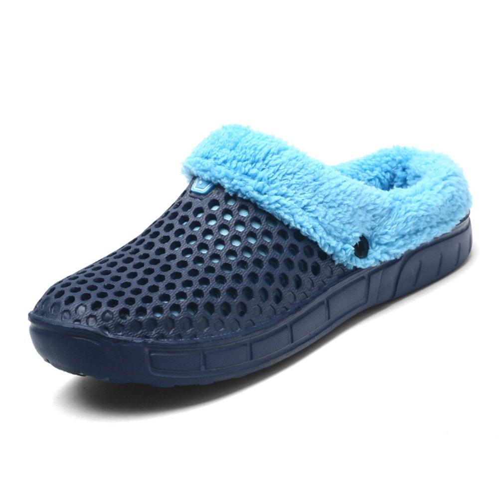 HangFan Männer Frauen Mules Clogs Slip auf Garten Schuhe Pelz Gefüttert Folien Flip Flops Warme Winter Slipper Blauer