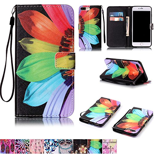 iPhone 7 Plus Case,iPhone 8 Plus Case,Firefish [Kickstand Feature] Durable Leather Flip Folio Wallet Case with Card Slot and Anti-scratch Protective Cover for Apple iPhone 7 Plus-Sunflower