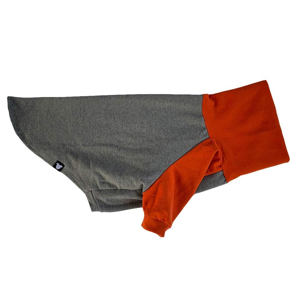 Tooth & Honey Large Dog Sweater/Pitbull/Large Dog Sweater Dog Sweatshirt/Orange & Grey (Large) by Tooth & Honey