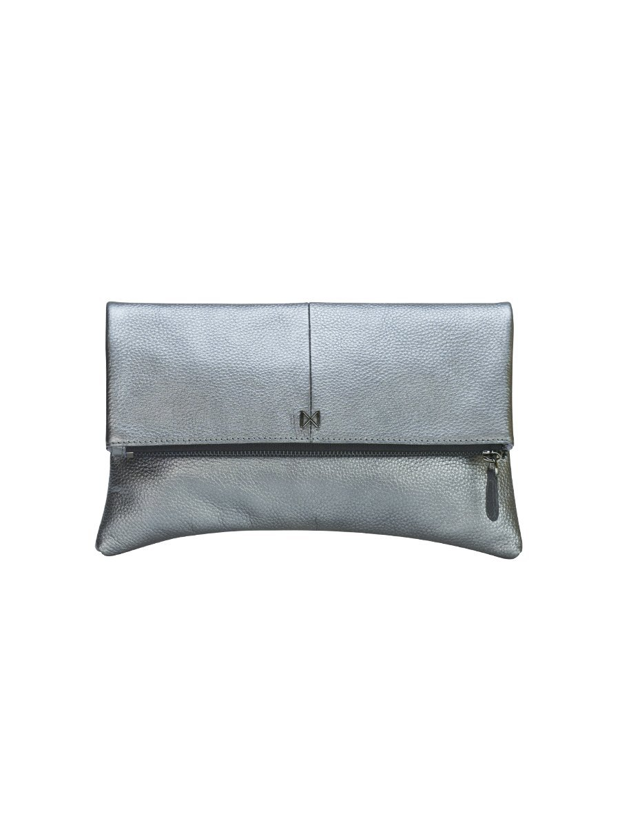 ESOTERIC Pebble Leather Pop of Color Foldover-Style Clutch