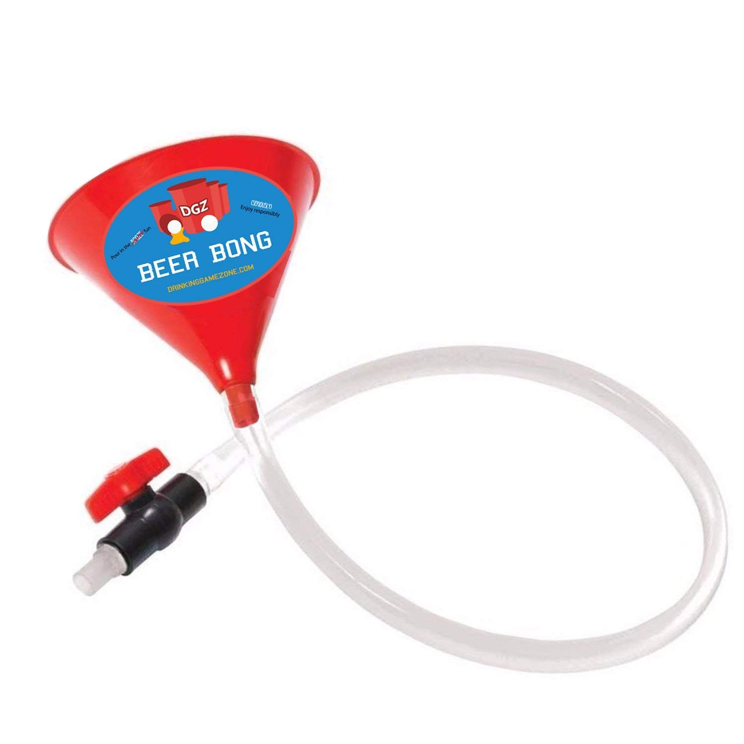 Beer Bong Funnel With Valve - 2.5 Foot Plastic College Party Alcohol Tube Hose Chugging Device - Perfect for Parties, Pregames, Beach Week, University Student Gag Gift - By Drinking Game Zone
