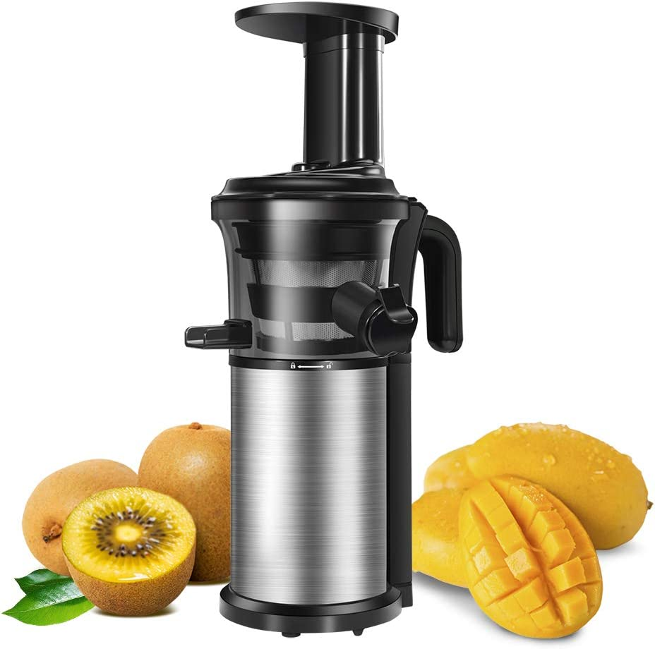 Slow Juicer, Sagnart Juicer Machine for Vegetables Fruits, Easy to Clean, Portable Vertical Cold Press Juicer with Reversal Function, Masticating Juicer with Juice Jug and Brush. BPA-free