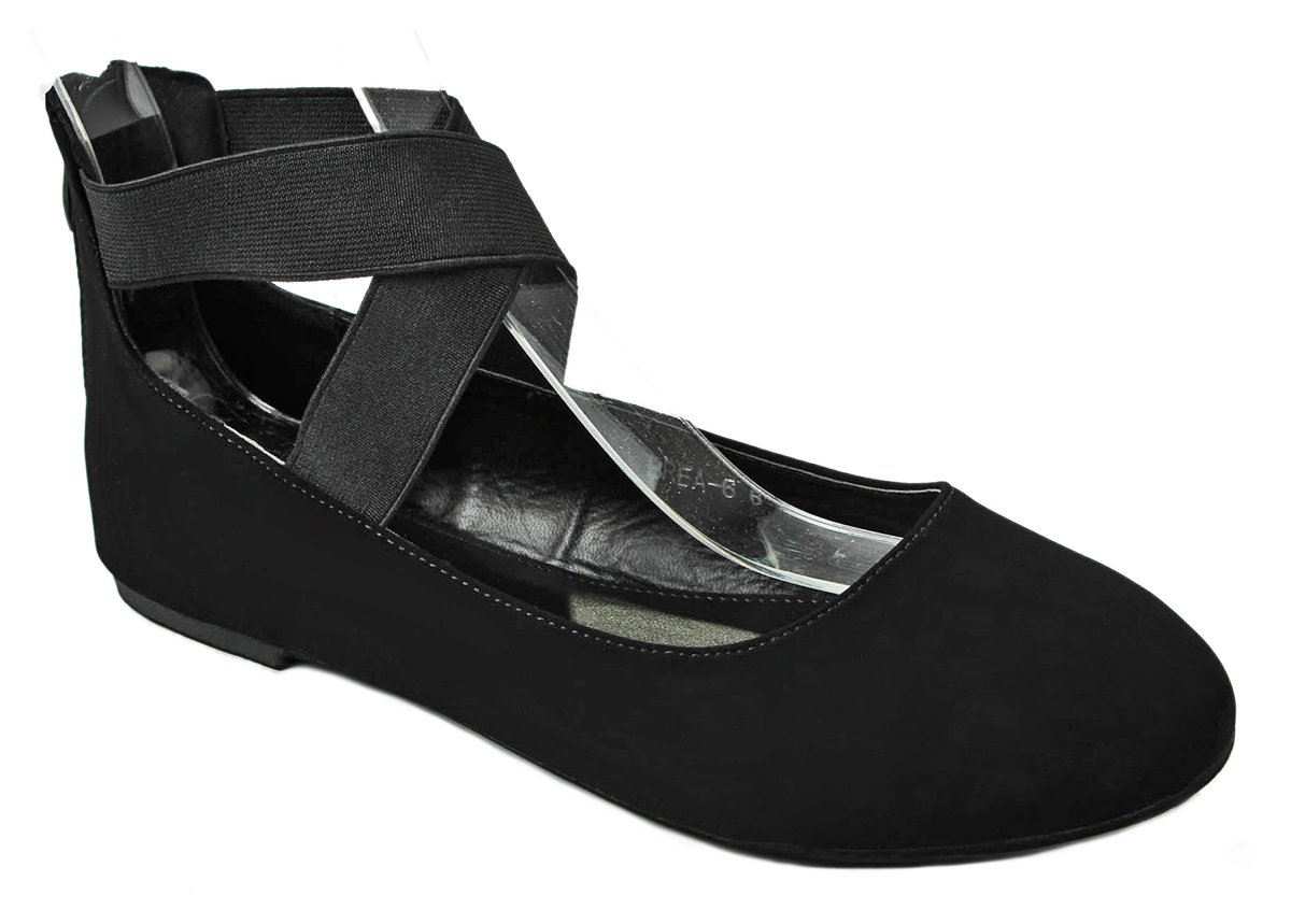 JJF Shoes Women Criss Cross Elastic Strap Round Toe Back Zip Comfort Loafer Ballet Dress Flats B01DOR5CKS 7 B(M) US|Black