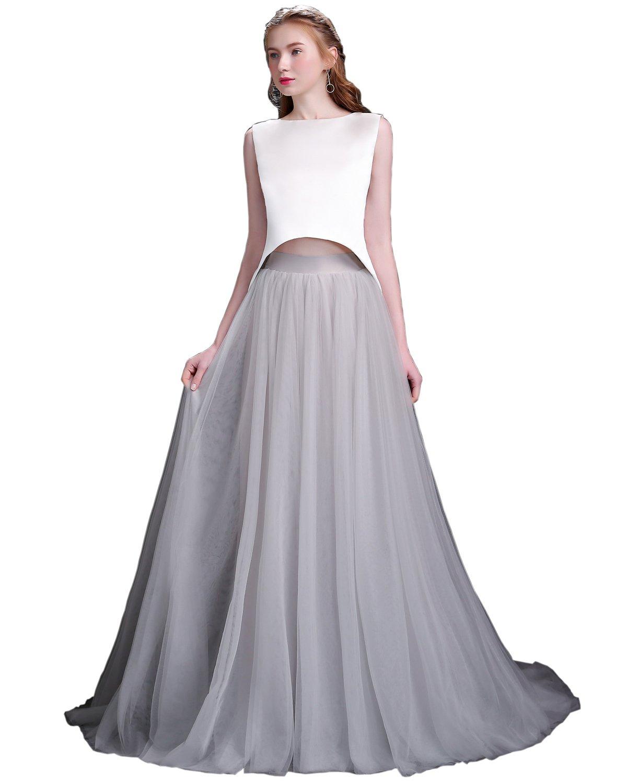 duolala レディース 袖なし ウエディングドレス ロング 花嫁 フォーマル ドレス ツーピース B077MKQ4TS XL|グレー グレー XL