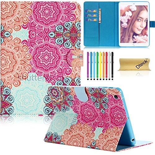 iPad Mini & Mini 2 & Mini 3 Case, Dteck(TM) Folio Stand Leather Case with Auto Wake/Sleep Function Smart Cover for Apple iPad Mini 1/2/3 with Stylus Pen & Clean Cloth (Colorful Damask)