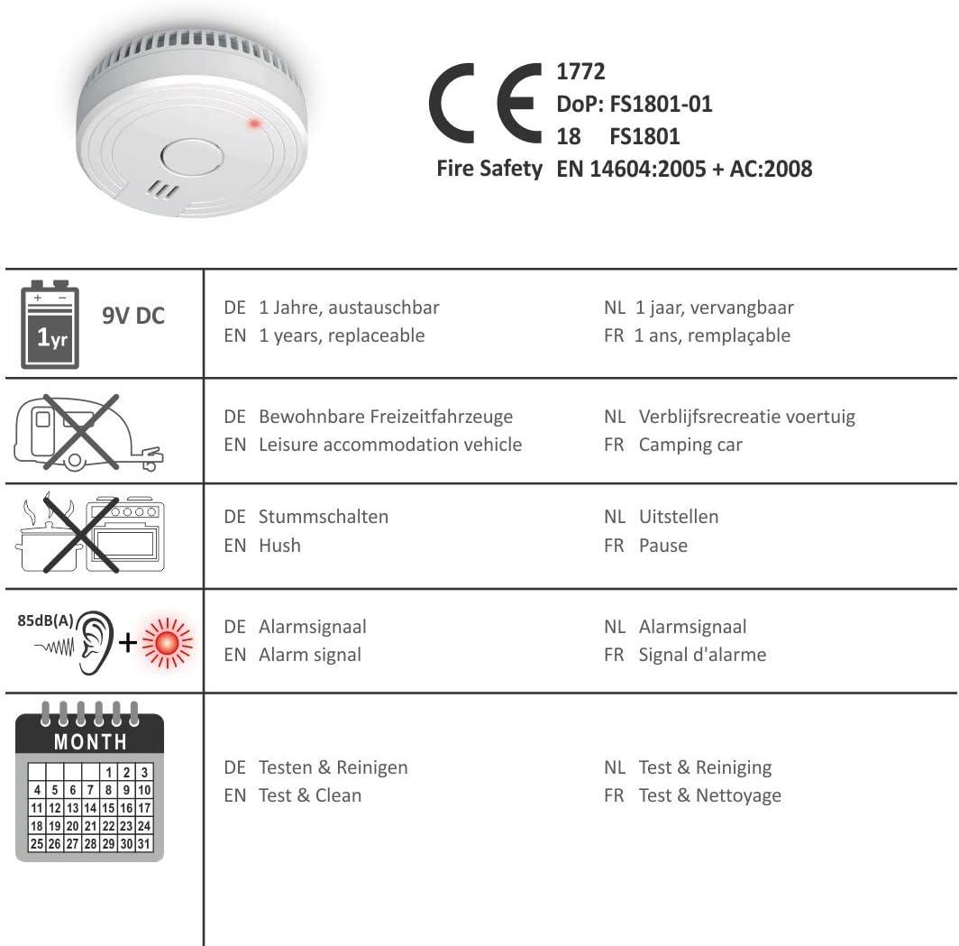 ELRO FS1801 Detector de Humo - Cumple con el estándar Europeo EN14604, 1 Pieza