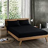 100% French Fitted Sheet Sets Mattress Encasements 2pillowcase and 1 fitted sheet king queen twin (CAL KING, black)