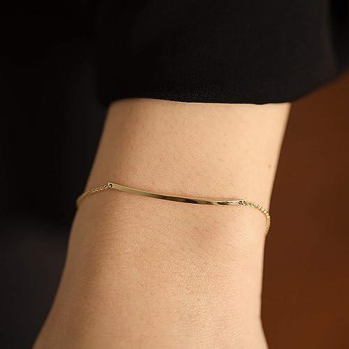 delicate bracelet gold filled bracelet simple bracelet Gold bar bracelet chain bracelet gift for her layering bracelet