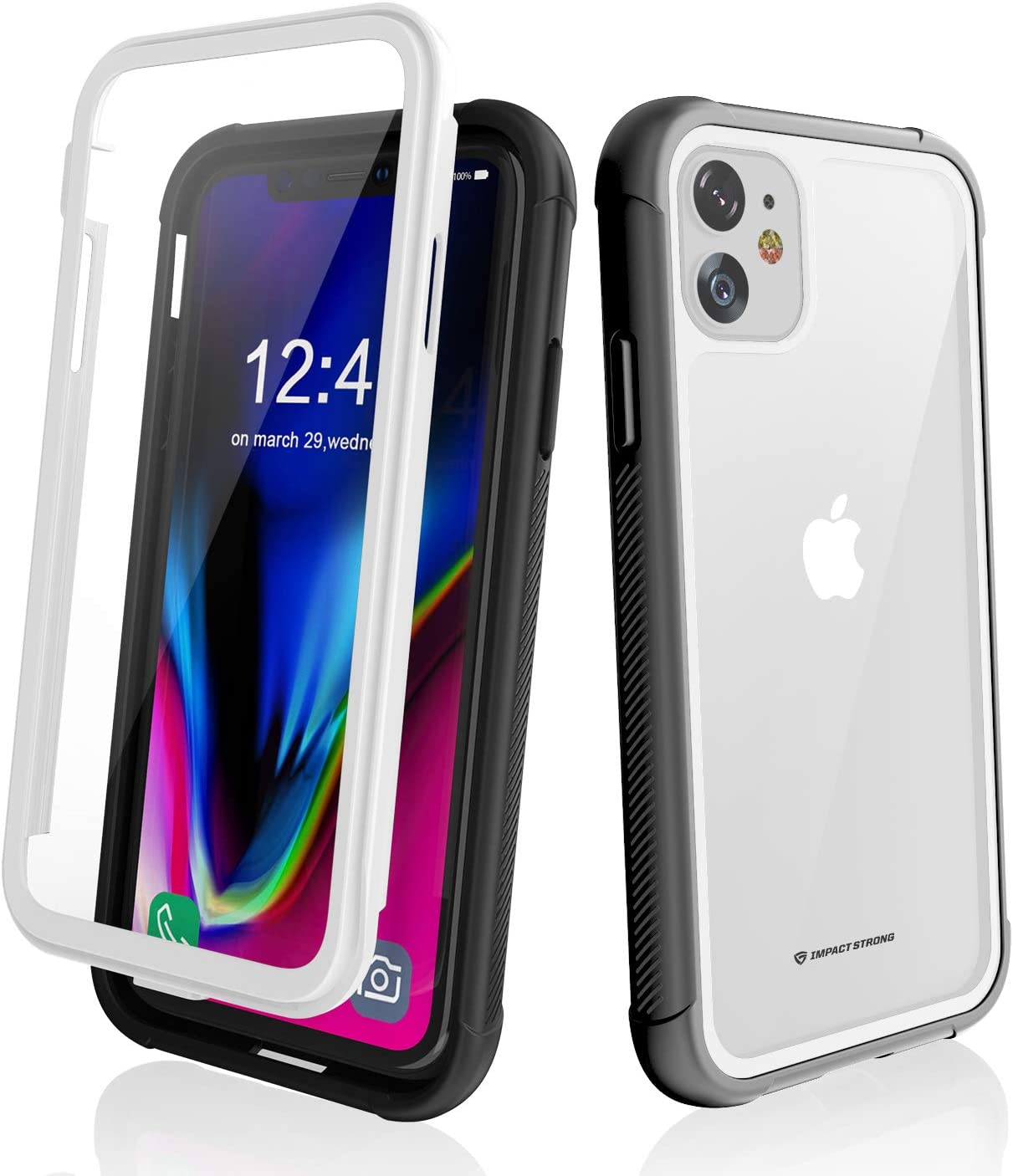 ImpactStrong iPhone 11 Case, Ultra Protective Case with Built-in Clear Screen Protector Full Body Cover for iPhone 11 6.1-Inch (2019) - White