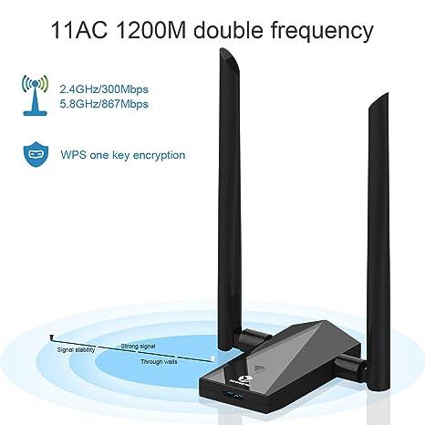Adaptador Wifi de 1200 Mbps de Zoweetek negro 1200Mbps ...