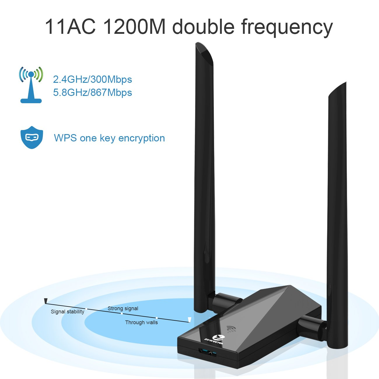 Zoweetek Wi-Fi Adapter AC 1200Mbps USB 3.0 Dual Band (5.8G /2.4G) Long Range Network Adapter, Built-in Intelligence Antenna High Speed Transmission For Mac OS X 10.6-10.12 / Windows XP / Vista / 7 / 8 / 8.1 / 10 etc
