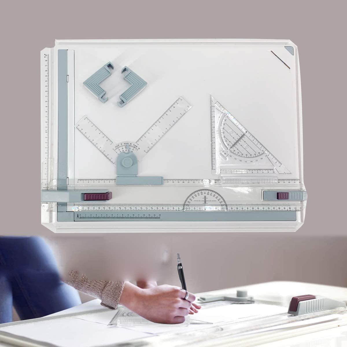 Anti Slip Support Legs Protractor Drawing Tool Set Graphic Architectural Sketch Board with Parallel Motion DOMINTY Drafting Table Drawing Board 20.114.60.35 Grey Sliding Ruler Set Square Clamps