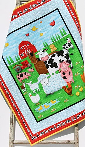 Farm Animals Quilt, Baby Boy or Girl, Ranch Animals, Country Bedding, Red Yellow Black, Gender Neutral, Pig Cow Horse Rooster Chicken Sheep