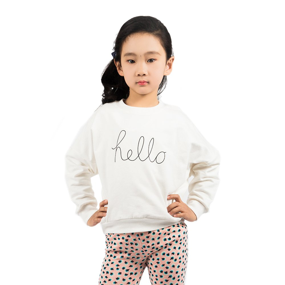 Girl's Cotton Clothing Spring Pullover Sweatshirt White 2T Hainuoer QFLJND2017SPRING251